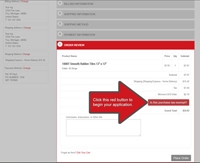 Step Two Tax Exemption on Checkout Page