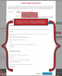Fill Out The Form Vice Uploading Your Document To Receive Immediate Exemption